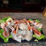 Crudo di pesce (Salmone, Gambero rosso, Ostriche, Tonno, Scampi, Capesante)