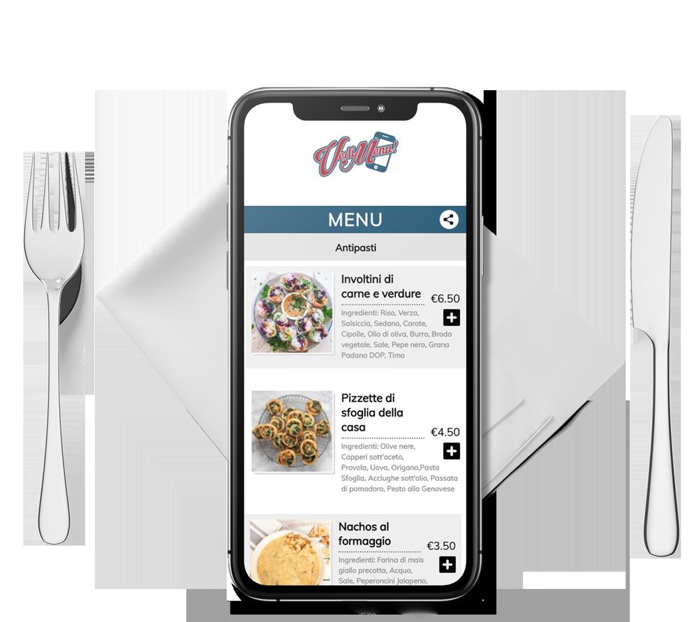 vedimenu ristorante tavola  smartphone